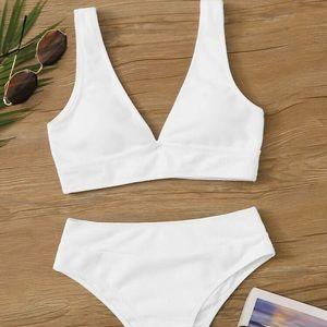 Rib Knit High Waist Bikini Swimsuit Set